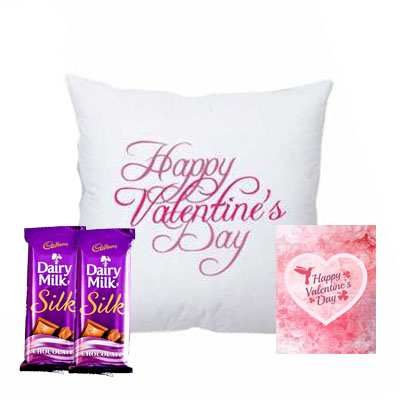 Valentine Day Cushion with Silk, Card