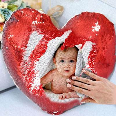 Heart Shape Red Magic Photo Cushion