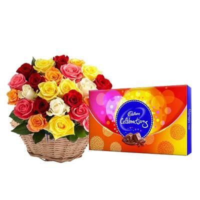 Mix Roses Basket with Celebration