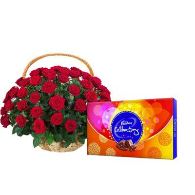 Red Rose Basket with Celebration