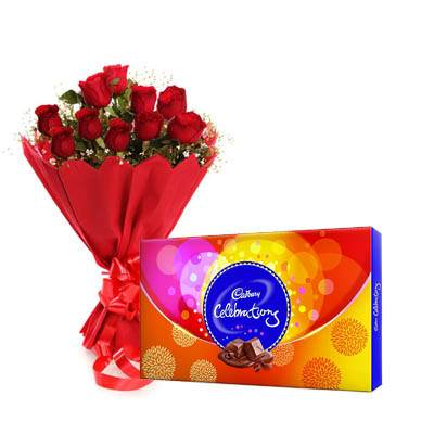 Red Roses Bouquet with Celebraton