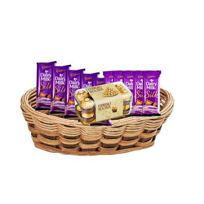 Silk and Ferrero Rocher in Basket