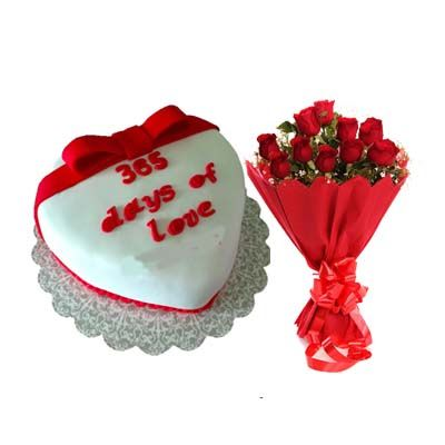 365 Days Of Love Cake with Bouquet