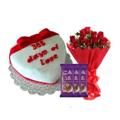 365 Days Of Love Cake with Bouquet, SIlk