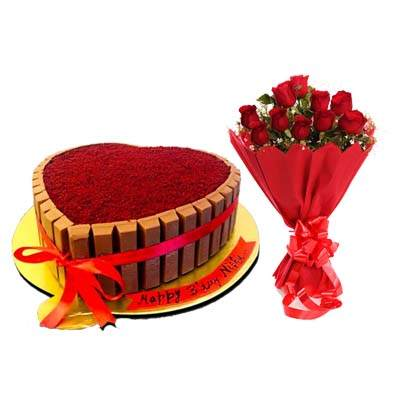 Heart Shape Kitkat Red Velvet Cake with Bouquet