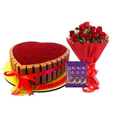 Heart Shape Kitkat Red Velvet Cake with Bouquet, SIlk