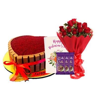Heart Shape Kitkat Red Velvet Cake with Bouquet, SIlk, Card