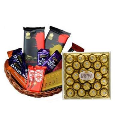 Indian Chocolate Basket with Big Ferrero Box