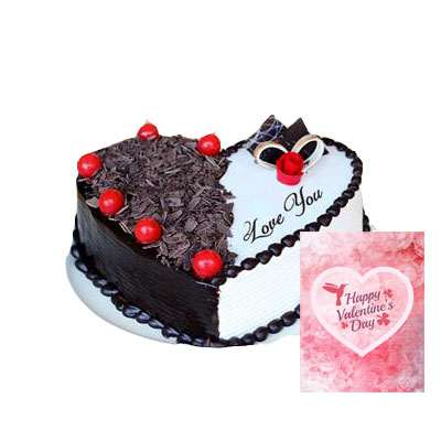 Heart Shape Black Forest & Vanilla Cake with Card