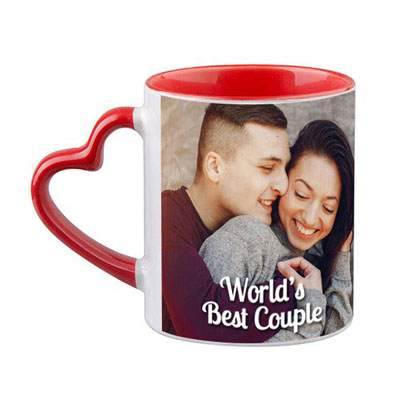 Heart Shaped Handle Red Photo Mug