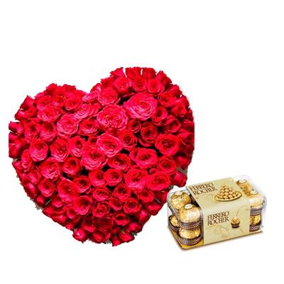 Exclusive Heart Shape Bouquet with Ferrero