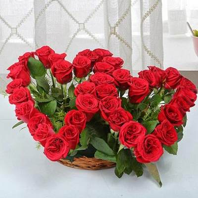Red Roses Dual Heart Shape Arrangement