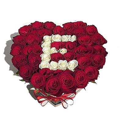 Letter in Heart Shaped Rose Arrangement in Box