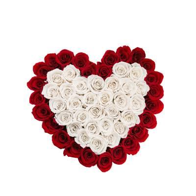 White & Red Roses Heart Shape Arrangement