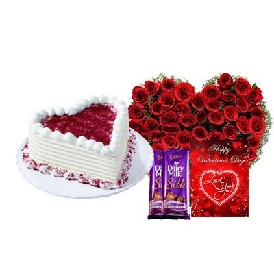Red Velvet Cake with Heart Bouquet, Silk & Card
