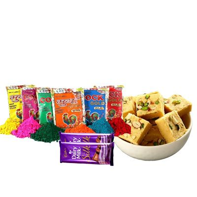 Holi Color with Soan Papdi & Silk