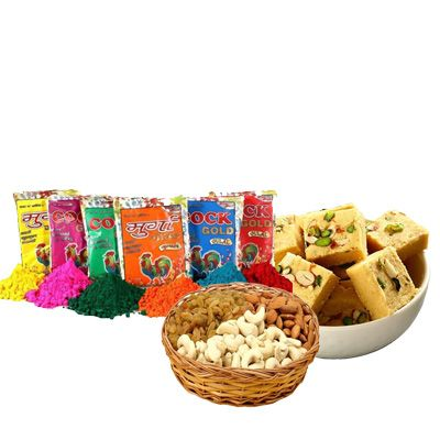 Holi Color with Soan Papdi & Mix Dry Fruits