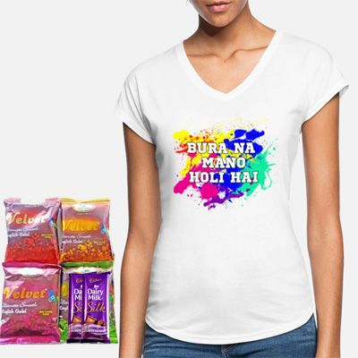Holi Printed T-shirt with Color & Silk
