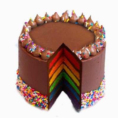 Luscious Chocolate Rainbow Cake