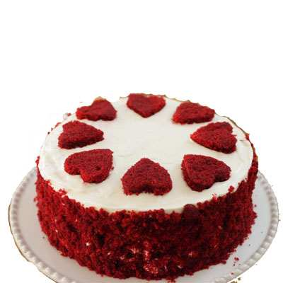 Red Velvet Cake with 8 Hearts