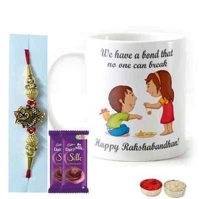 Designer Rakhi with Mug & Silk
