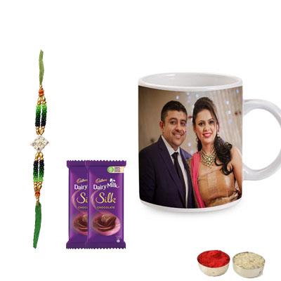 Kundan Rakhi with Photo Mug & Silk