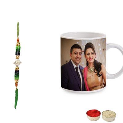 Kundan Rakhi with Photo Mug