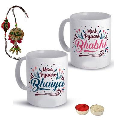 Lumba Rakhi Set with Bhaiya Bhabhi Mugs