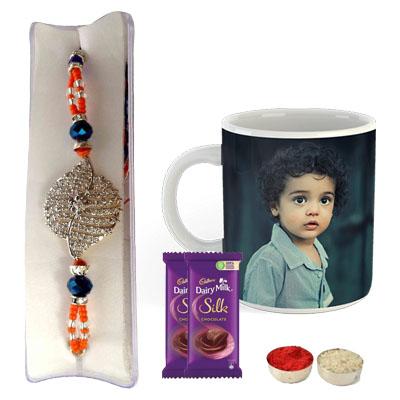 Premium Rakhi with Photo Mug & Silk
