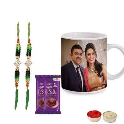 Set of 2 Kundan Rakhi with Photo Mug & Silk