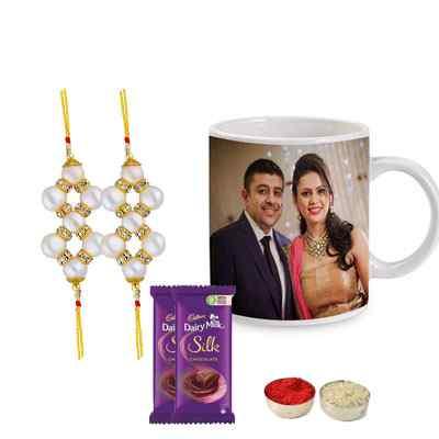 Set of 2 Pearl Rakhi with Photo Mug & Silk