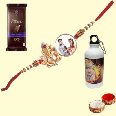 Personalized Ganesha Rakhi with Sipper & Bournville