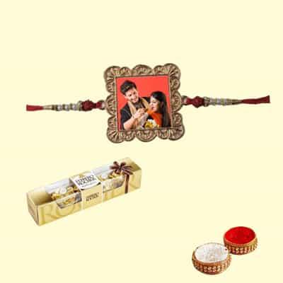 Personalized Metal Square Rakhi with Ferrero