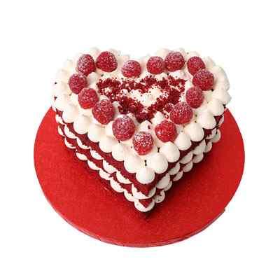 Heart Shaped Red Velvet Raspberry Cake