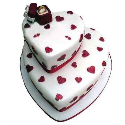 2 Tier Vanilla Engagement Cake
