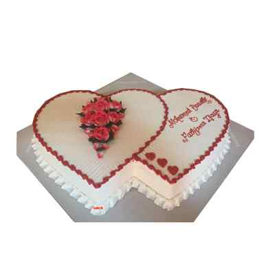 Double Heart Vanilla Cake