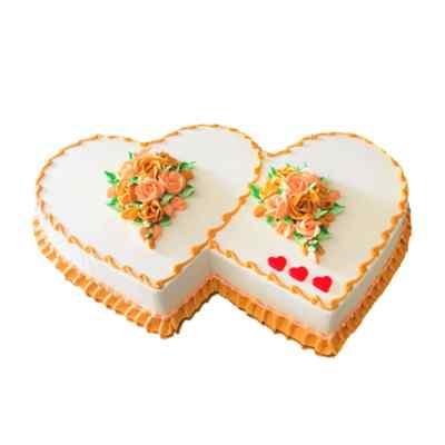 Double Heart Butterscotch Cake