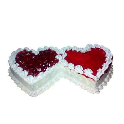 Delicious Double Heart Vanilla Cake
