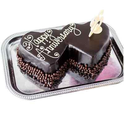 Double Heart Shaped Chocolate Anniversary Cake