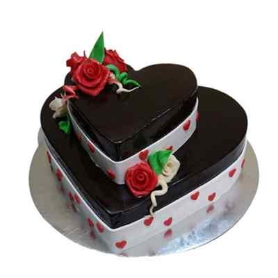 2 Tier Rose & Chocolate Cake
