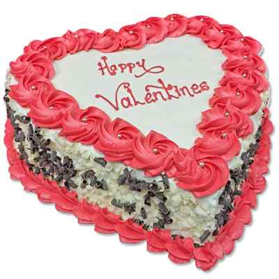 Happy Valentines Heart Shape Butterscotch Cake