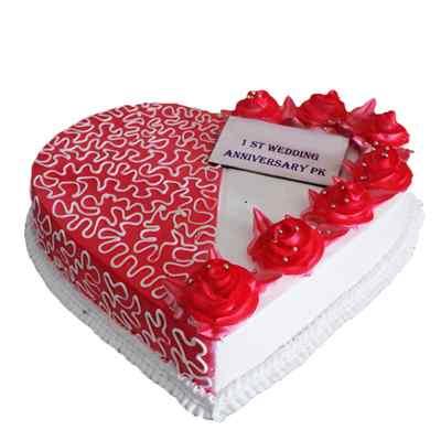 Heart Shape Designer Cake for Anniversary
