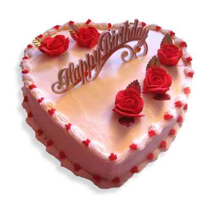 Happy Birthday Heart Shape Strawberry Cream Cake