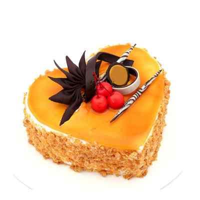 Ambrocial Heart Shape Butterscotch Cake