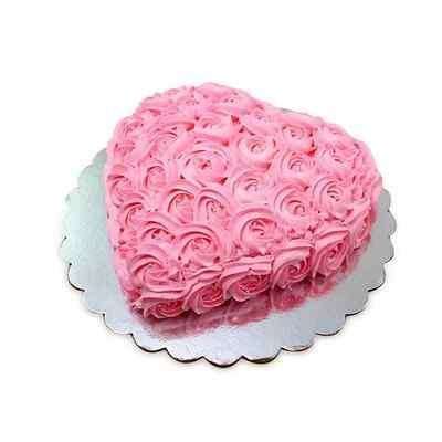 Pink Flower Heart Shape Vanilla Cake