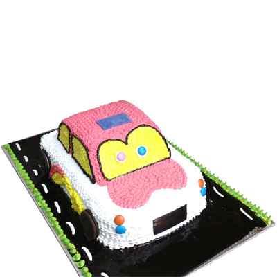 Fresh Cream Car Cake